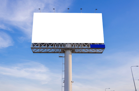 billboard advertising: large blank billboard with city view and background Stock Photo
