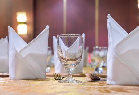 dinning room: Elegance glasses on table set up for dinning room. Stock Photo