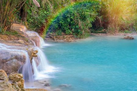 tat: Waterfall in rain forest. (Tat Kuang Si Waterfalls at Luang prabang, Laos.) Stock Photo