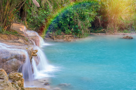 Waterfall in rain forest. (Tat Kuang Si Waterfalls at Luang prabang, Laos.)