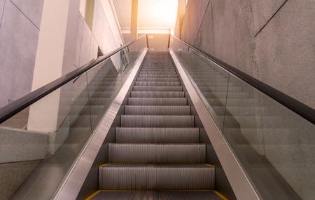 rapid steel: escalators stairway inside modern office building. Editorial