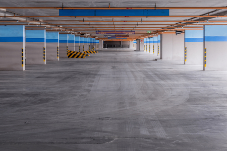 car park interior: Empty parking garage on the building. Stock Photo