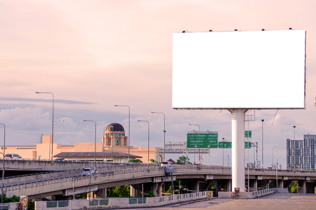advertising signs: large Blank billboard ready for new advertisement. Stock Photo