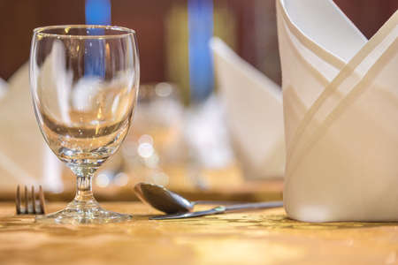 set up: Elegance of glasses on table set up for dinning room. Stock Photo