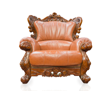 vintage furniture: Old styled sofa vintage armchair furniture isolated on white background. Stock Photo