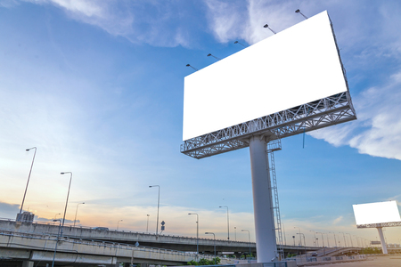 large Blank billboard ready for new advertisement. Stock Photo