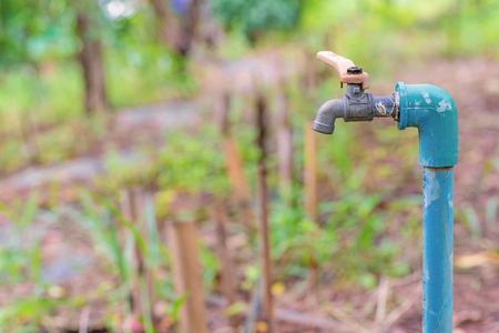 water garden: water valve or old faucet in the garden. Stock Photo