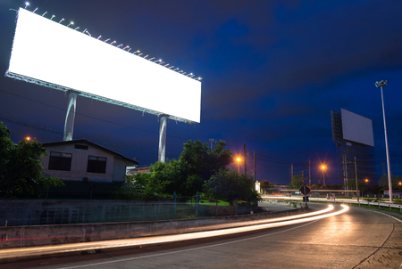 advertising signs: Blank billboard at twilight time ready for new advertisement.