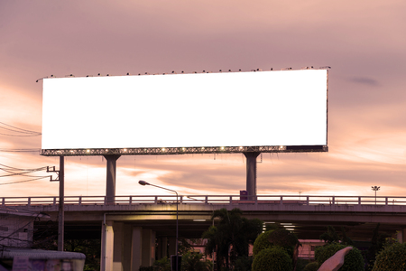 blank poster: Blank billboard at twilight time ready for new advertisement.