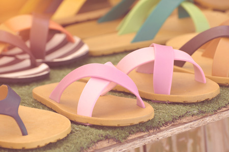 soft sell: flip flop sandals retro style in the market.
