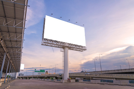 billboard: large Blank billboard ready for new advertisement. Stock Photo