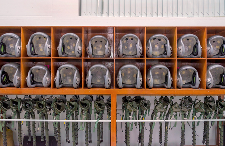 helicopter pilot: many of helicopter pilot helmet on the lockers