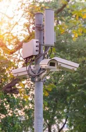 larceny: Security CCTV camera and urban video Stock Photo