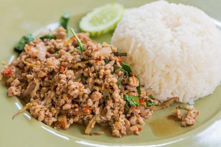pork: Fried rice with Spicy pork, Thai style food.