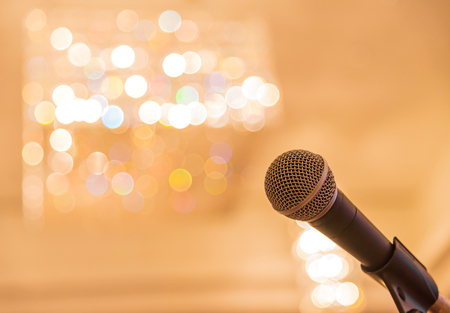 concert background: Microphone in meeting room before a conference.