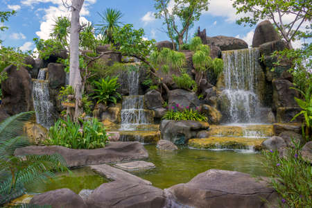 preserve: Waterfall in garden at the public park. Stock Photo