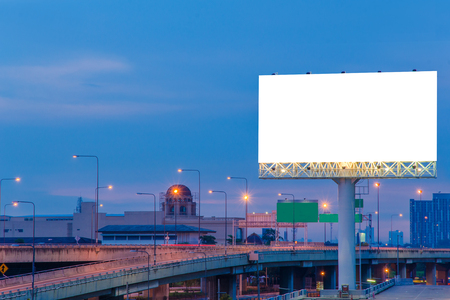 blank frame: Blank billboard at twilight time for advertisement.