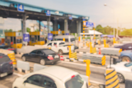 blurry of car in Toll collecting on the expressway in Bangkok Thailand.
