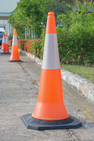 traffic cone: Row of Traffic cone in the road.