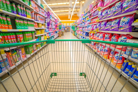 '5 december': Bangkok Thailand, 5 DECEMBER 2015: Rows of shelves in Big C supermarket in Ladprao district, Bangkok province, Thailand. Big C is a largest hypermarket chain in Thailand.