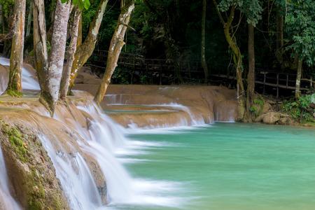 Waterfall in rain forest (Tad Sae Waterfalls at Luang prabang, Laos.)