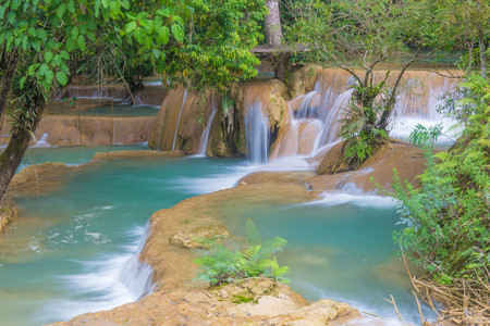 tat: Waterfall in rain forest (Tad Sae Waterfalls at Luang prabang, Laos.)