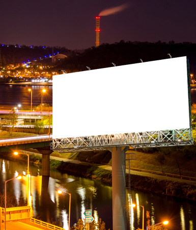 advertising signs: Blank billboard for advertisement in city downtown at night.