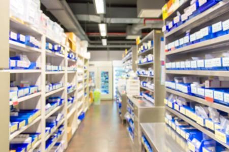 Blur di farmaci nel negozio farmacia. Archivio Fotografico