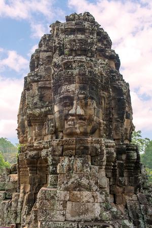 prasat bayon: Bayon Castle or Prasat Bayon Khmer temple at Angkor in siem reap Cambodia.