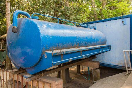 Sewage treatment tanks or water tank in rural.
