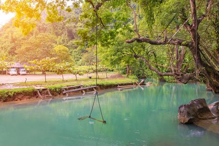 blue lagoon: Blue Lagoon at pukham cave in vangvieng, Laos.