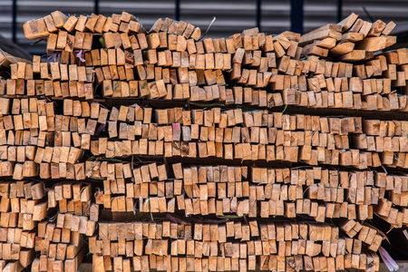 Firewood stacked up in a pile for kindle. Stock Photo