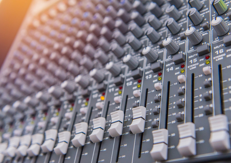 equipment for sound mixer control, electornic device. Stock Photo