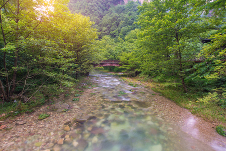 transnational: Waterfall and bridge in Golden whip stream at Zhangjiajie National Forest Park, Hunan, China. Stock Photo