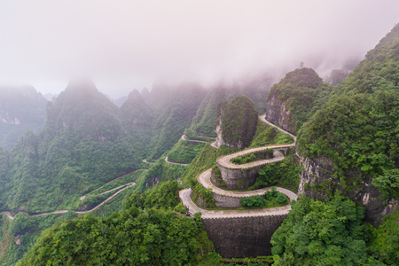 winding and curves road in Tianmen mountain national park, Hunan province, China.