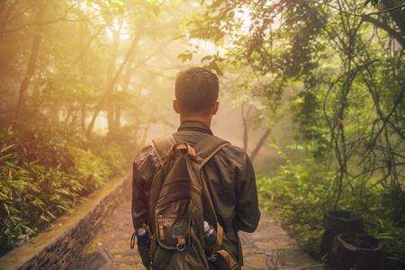 ミスト自然の背景、旅行生活と生存の概念で森を歩く男。 写真素材