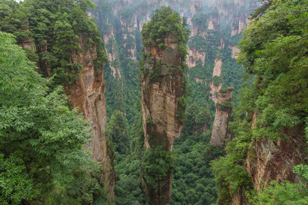 Beautiful view of natural quartz sandstone pillar of Zhangjiajie National forest park at Wulingyuan Hunan China Stock Photo