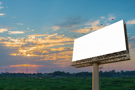 Blank billboard at twilight time ready for new advertisement Stock Photo