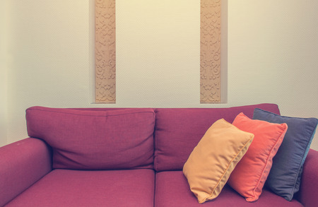 Decorative Of Pillows On Casual Sofa In Living Room. Stock Photo ...