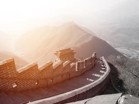muralla china: vista desde arriba de la pared china.