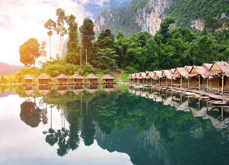 surat: bamboo house Resort in Ratchaprapha Dam at Khao Sok National Park, Surat Thani Province, Thailand.  Stock Photo