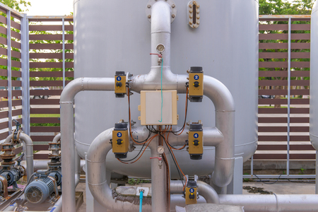 Pipes and faucet valves of gas heating system.