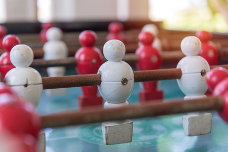 Soccer table football game with classic style wood players.