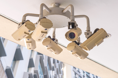 Security CCTV camera and urban video, electronic device. Stock Photo