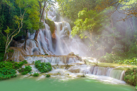 blue lagoon: Waterfall in rain forest. (Tat Kuang Si Waterfalls at Luang prabang, Laos)