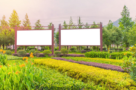blank billboard ready for new advertisement at green park zone.