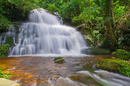 beautiful waterfall in rainforest at phu tub berk mountain  phetchabun, Thailand. (Mun Dang waterfalls)
