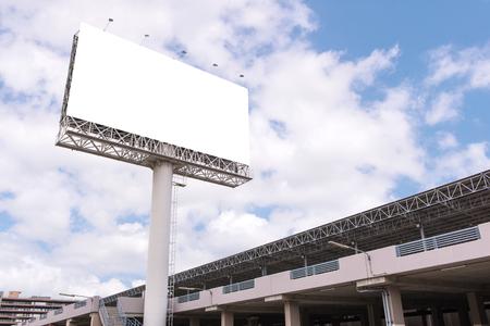 customizable: large Blank billboard ready for new advertisement. Stock Photo