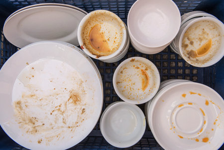 dirtiness: Dirty of dish and kitchenware waiting for wash.