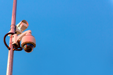 Security CCTV camera and urban video in twilight time. Stock Photo